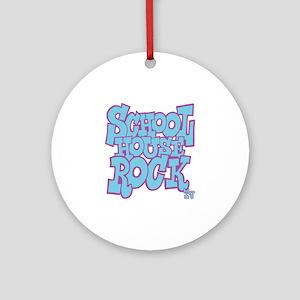 2-schoolhouserock_blue_REVERSE Round Ornament