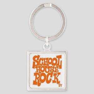 2-schoolhouserock_orange_REVERSE Square Keychain