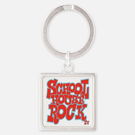 2-schoolhouserock_red_REVERSE Square Keychain