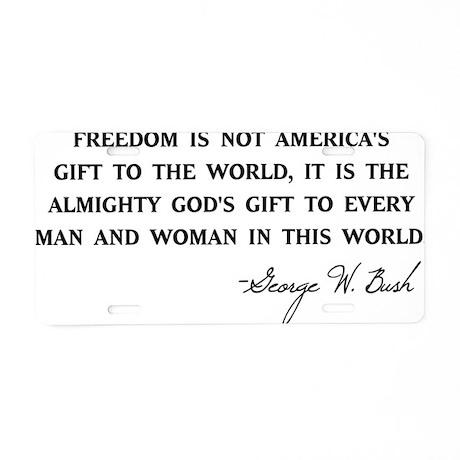 Freedom-Bush-(white-shirt) Aluminum License Plate