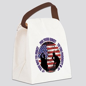 Tea Party - Button w website for  Canvas Lunch Bag