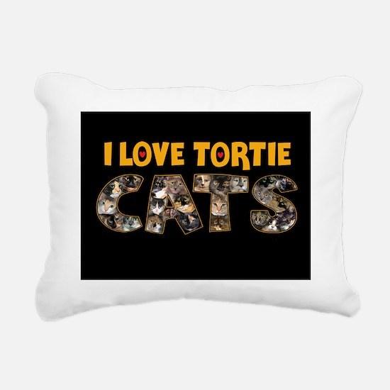 I love Tortie Cats Rectangular Canvas Pillow