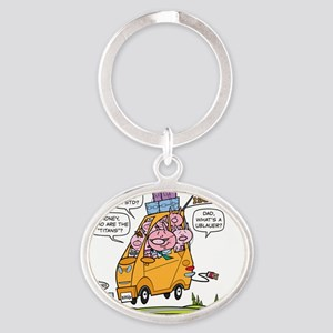 with balloons Oval Keychain