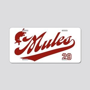 mules_baseball29 Aluminum License Plate
