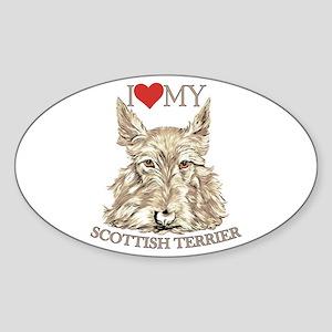 Wheaten Scottish Terrier Love My Oval Sticker