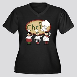 Three Chefs Women's Plus Size Dark V-Neck T-Shirt