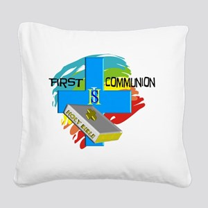 First Communion Day Square Canvas Pillow