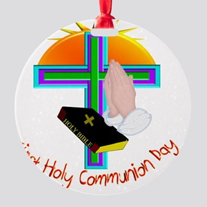 First Holy Com Day Round Ornament