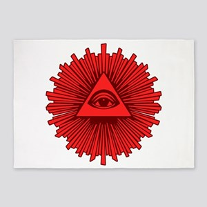 All Seeing Eye Red 5'x7'Area Rug