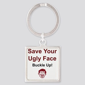 2-UglyFace Square Keychain