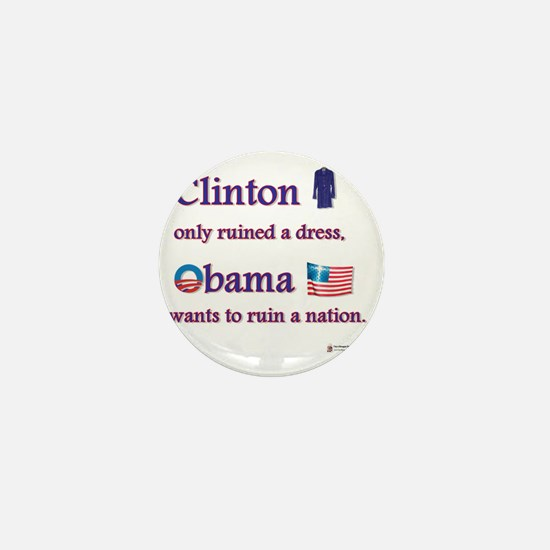 clinton vs obama Mini Button