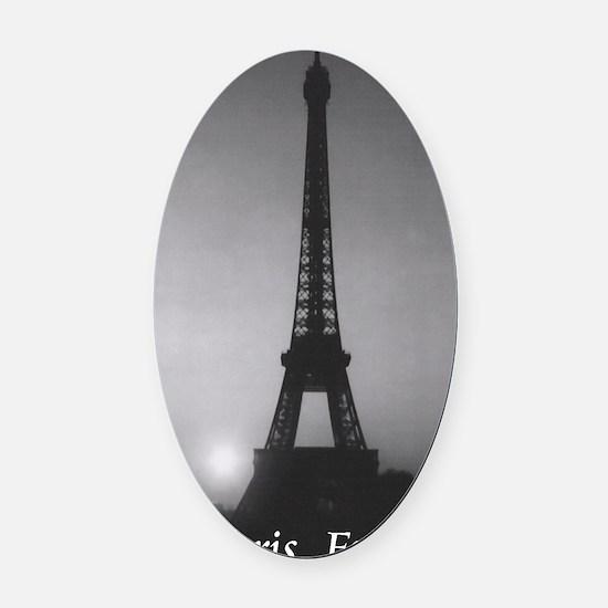 Eiffel Tower Black n White Oval Car Magnet