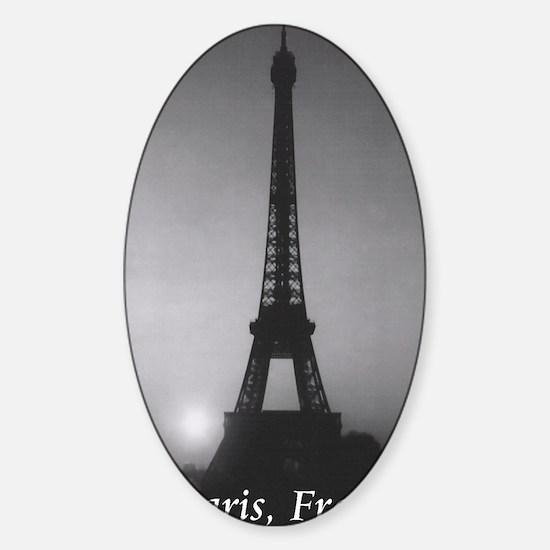 Eiffel Tower Black n White Sticker (Oval)