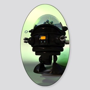 Cute Toy Planet Robot Sticker (Oval)