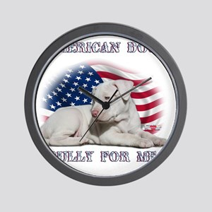 Amerian Flag Dog, Bully for Me Wall Clock