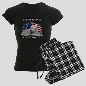 Amerian Flag Dog, Bully for  Women's Dark Pajamas