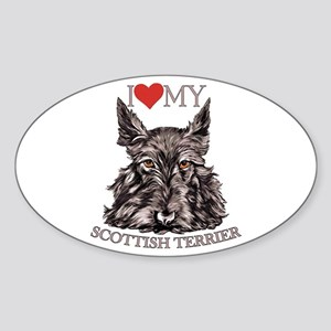 Scottish Terrier Love My Oval Sticker