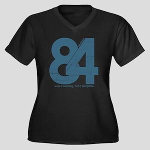 nineteen84Fa Women's Plus Size Dark V-Neck T-Shirt