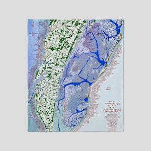1023 Map of Northampton County, VA Throw Blanket