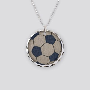 Fabric Soccer Necklace Circle Charm