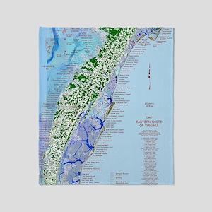 7002 Eastern Shore Map Throw Blanket