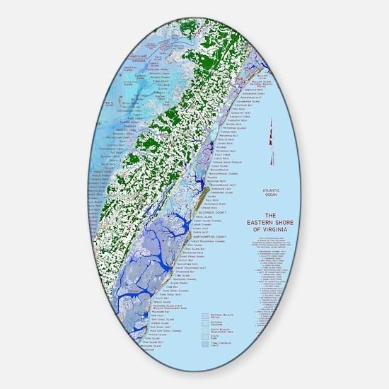 7002 Eastern Shore Map Sticker (Oval)