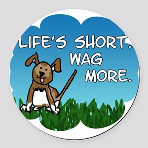 Wag More Square Round Car Magnet