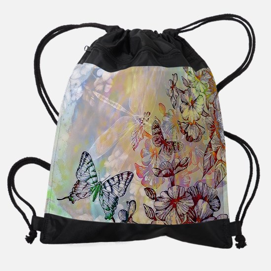 Bright flowers and butterfly Drawstring Bag