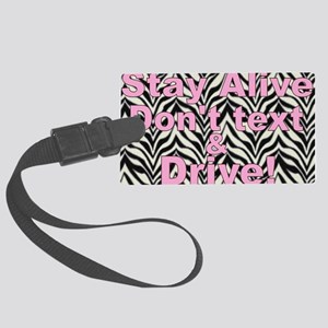 text and drive zebra pink Large Luggage Tag