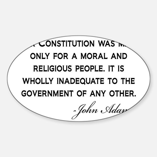 John-Adams-Constitution-(white-shir Sticker (Oval)