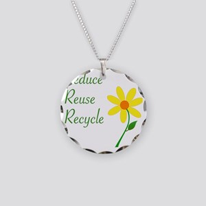 3RsFlower Necklace Circle Charm