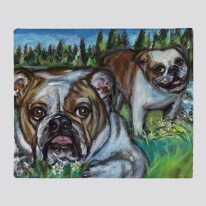 paintingconniebulldogs Throw Blanket