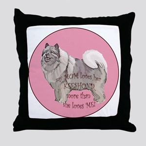 keeshond_mom Throw Pillow