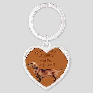 dachshund_mom Heart Keychain