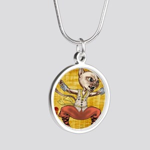 Kung Fu Kitty -iron boxer Silver Round Necklace