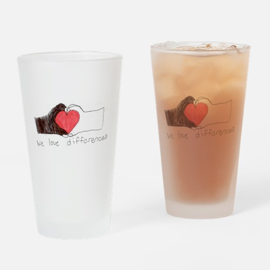 We Love Differences Drinking Glass