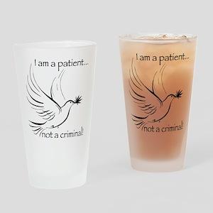 patient not criminal black Drinking Glass