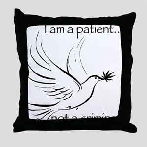 patient not criminal black Throw Pillow