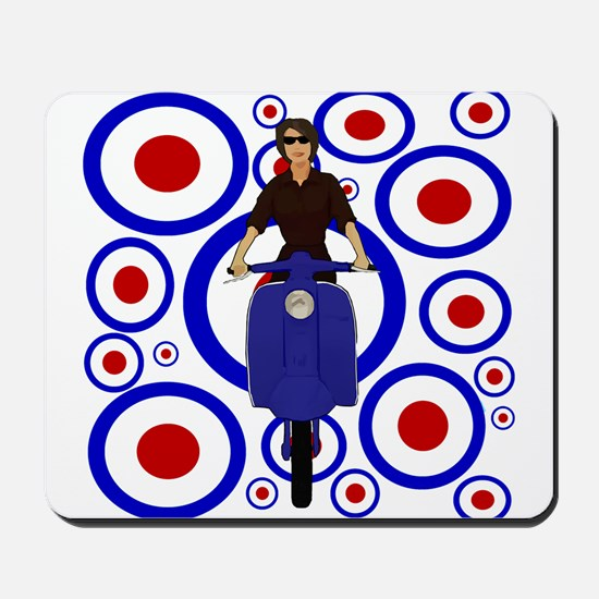 Retro mod girl on scooter Mousepad