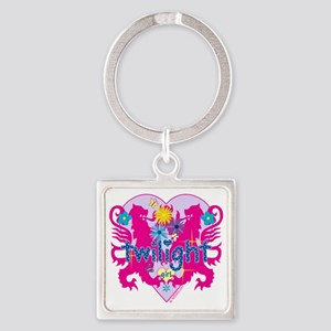 Twilight Girl Twin Lions Pink Square Keychain