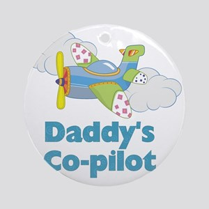 Daddys Co-pilot (boy) Round Ornament