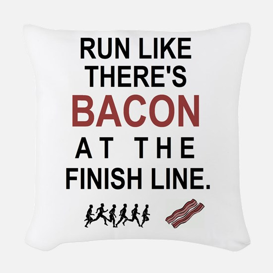 Will Run for Bacon Woven Throw Pillow