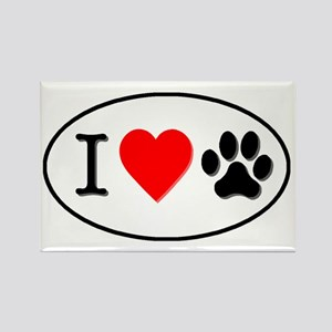 I heart paw oval-white Rectangle Magnet