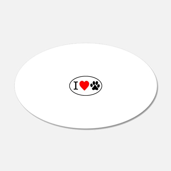 I heart paw oval-white Wall Decal