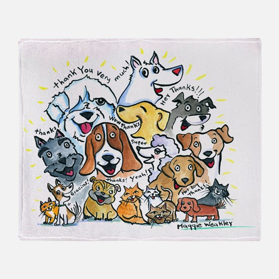 Thank You Dog Cats Throw Blanket