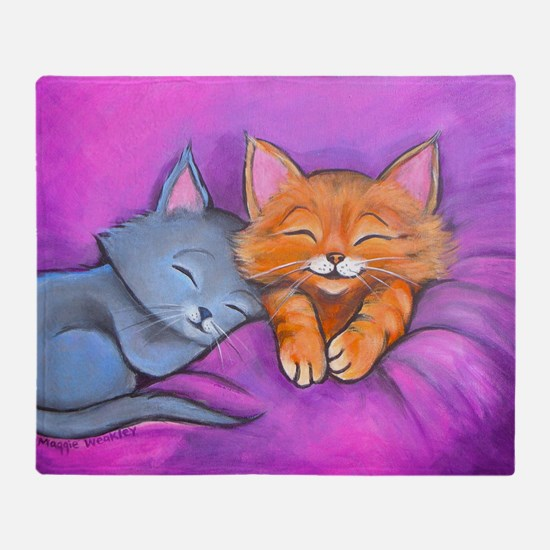 Kittens In Bed Throw Blanket