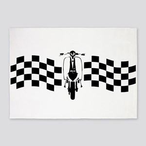 Vintage Scooter on oblong checks design 5'x7'Area