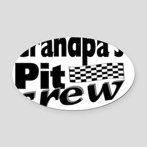 2-grandpas pit crew Oval Car Magnet