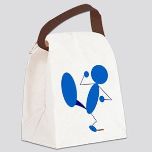 Karate Kick Blueman with Logo Canvas Lunch Bag