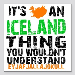 """Iceland Thing Square Car Magnet 3"""" x 3"""""""
